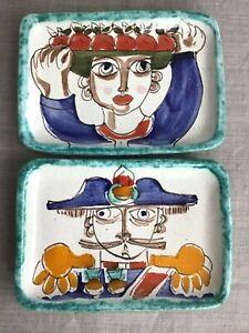 Vintage Mid Century Hand Painted Desimone Pottery Small Trays PAIR