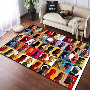 Marvel All Superheros Area Rug Living Room Bedroom Soft Flannel Floor Mat Carpet