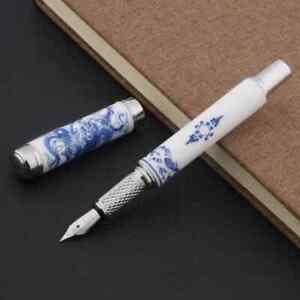 Jinhao 955 Fountain Pen & Converter, Medium Nib, Ceramic Porcelain, Blue Dragon