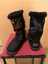 Don Ed Hardy Suede Shearling  Mid Calf Boots Size (8). See Pics To Appreciate.