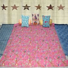 Indian Handmade Vintage Kantha Quilt Blanket King Size Bedspread Ethnic Rallies