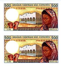 Comoros ... P-10 ... 500 Francs ... ND(1986) ... *UNC* ... Consecutive Pair