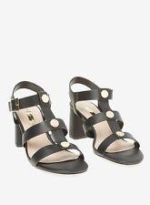 Ex Dorothy Perkins Black White  'Sidney' Studded Sandals Block Heel Size 3 - 9