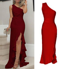 Womens Long Ruffles One Shoulder Evening Dresses High Slit Formal Party Dress