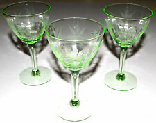 VINTAGE GREEN STEMWARE. WINE/SHERRY GLASSES. 3 PIECE SET. USA SELLER.