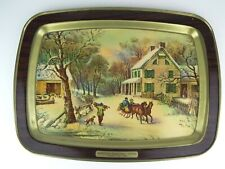 Vintage Currier and Ives American Homestead Winter Metal Serving Tray