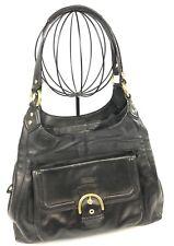 Vintage Coach Black Leather Gold Hardware Hobo Handbag Purse Shoulder Bag