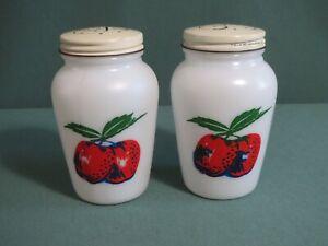 Fire King Apples Range Size Salt Pepper Shakers