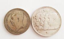 Lot 2 pieces en argent 20 et 100 francs Belgique. (AV067)