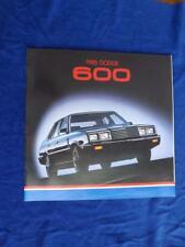 1985 DODGE 600 SALES BROCHURE SEDAN COUPE TURBO CONVERTIBLE CAR OPTIONS FEATURES