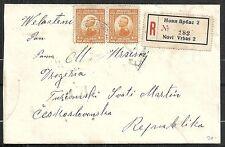 Serbia 1921 R-cover Novi Vrbas to Turcianski
