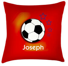 Childrens name personalised football decor cushion