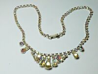 Dainty Vintage 1950s sparkly AB rhinestone silver tone necklace party prom