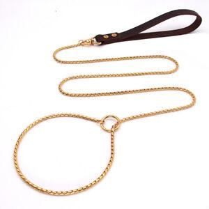Pet Dog Metal Chain Collar Stainless Steel Slip Choke Leash Leather Handle Gold