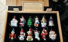 Thomas Pacconi Museum Series Christmas Ornaments 12 Piece Set Wood Crate santa