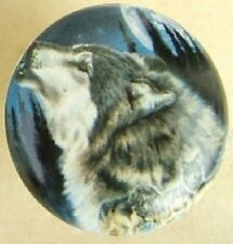 Ceramic cabinet Knobs Knob w/ Wolf Moon Wildlife wolves