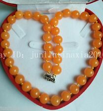Natural Huge 12mm Rare Orange South America Topaz Bead Necklace 18'' AAA+++