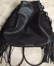 Victoria's Secret Fringe Backpack Black Faux Leather Bucket $85 NWT
