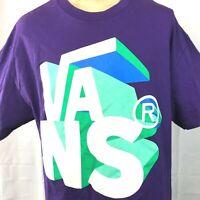 VANS Large 3D Logo T-Shirt XL Mens Purple Full Torso Graphic Skateboard Skater