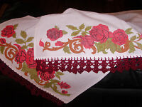 Vintage Crocheted Hand Painted Floral Table Runner Cloth Cover Topper Decor
