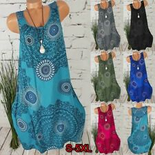 Womens Plus Size Boho Retro Dress Summer Loose Shift Sleeveless Vest Sun Dress
