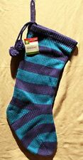 BLUE KNIT STRIPED CHRISTMAS STOCKING Holiday Decorations Pom-Poms Men Teen NEW