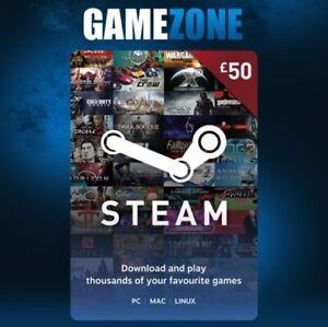 £50 Steam Gift Code GBP Pounds UK Steam Digital Prepaid Wallet Card