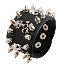 Black Skull Chain Spike Leather Bracelet Cuff Wristband Gothic Biker Rock