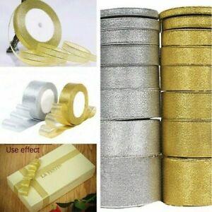 10 Roll/Set Silver/Gold Silk Satin Ribbon Home Decor Gift Wrap Nail Beauty