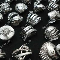 25pcs Enamel Silver Plated Rings Mix Wholesale Jewelry Fashion Laser Women Lots