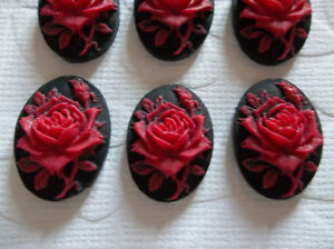 Blooming Red Rose Flower on Black Cameo - 25X18mm Resin Cabochons - Qty 6