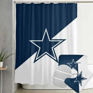 Dallas Cowboys Design Football Bathroom Rug Shower Curtains Mat Toliet Lid Cover