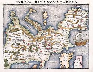 "1542 Pictorial Map of Europe Sebastian Münster 11""x14"" Art Print Decor Artwork"