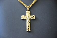 18K Gold Plated Pendant Jesus Christ Cross Necklace Gift Box Chain Jewellery 26""