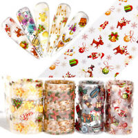 10 Rolls 3D Nail Art Transfer Stickers Decals Christmas Halloween Nail Foils