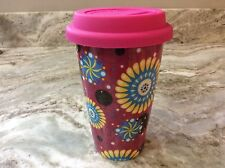 ECO ONE Ceramic Double Wall Insulated Travel Coffee Mug. Pink. Colorful. New.