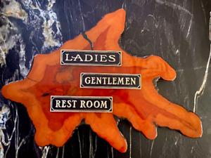 Restroom Signs: Set of Three, Restroom, Ladies, Gentlemen, Brass Door Signs