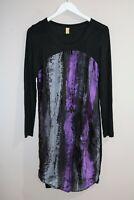 luxe Brand Woman's Black Purple Silk Long Sleeve Dress Size 10  #AN02