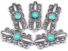 5 - 2 HOLE SLIDER BEADS LARGE SILVER PLATED SCALLOPED TURQUOISE ENAMEL CENTER