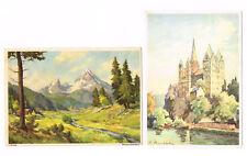 Eduscho Kaffee aus Bremen 2 alte AK Landschaft Maler J. Buggle Dom H. Mumbächer