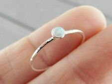 925 Silver White Fire Opal Engagement Wedding Proposal Women Jewelry Ring