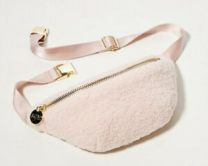 $128 NEW Stoney Clover Lane SHERPA FANNY BELT BAG Pale Pink Gold Zip