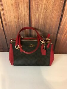 $350 Authentic Coach Christie Carryall in Signature F36718~BROWN/RED BAG