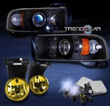 1994-2001 DODGE RAM HALO LED BLACK PROJECTOR HEADLIGHT+YELLOW FOG LAMP+8000K HID