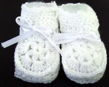 Baby Knitted Crochet Booties - White Color - Size: New Born - Gifts (00215*)