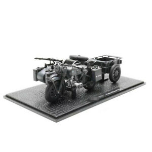 1:24 Diecast Motorcycle Sidecar WWII R75 Panzerfaust 30 Autocyle Tricycle Model