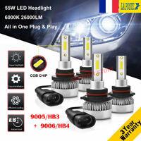 9005&9006 110W 26000LM LED Ampoule Voiture Feux Lampe Kit Phare 6000K 2 Paires
