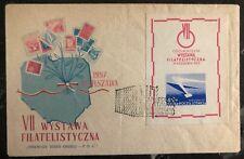 1957 Wystawa Poland First Day Souvenir Sheet Cover FDC Philatelic Exhibition