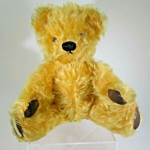 Vintage Chad Valley gold long mohair TEDDY BEAR jointed antique England NICE!