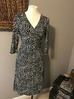 Talbots Black White 3/4 Long Sleeve Stretch Dress 8P 8 P NWOT